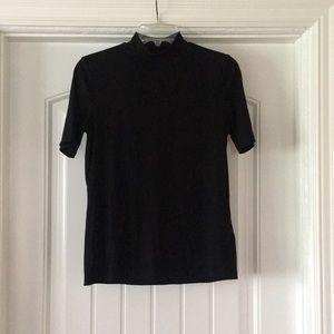 High Neck Black T Shirt